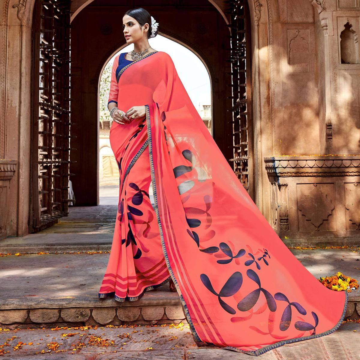 Peach Digital Printed Georgette Saree