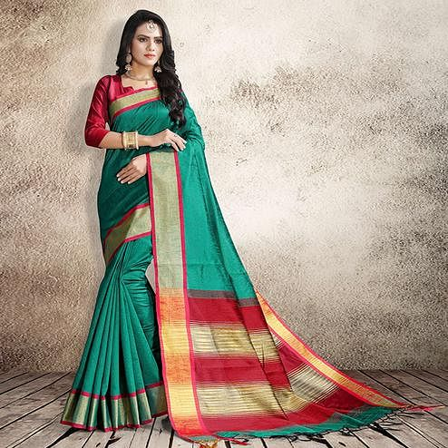 Classy Turquoise Green Colored Festive Wear Cotton Silk Saree
