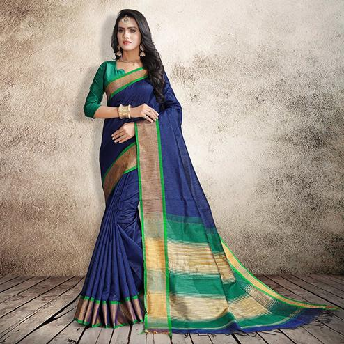 Glorious Navy Blue Colored Festive Wear Cotton Silk Saree