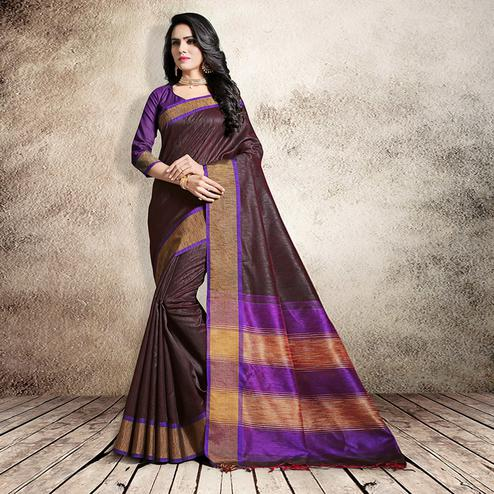 Graceful Brown Colored Festive Wear Cotton Silk Saree