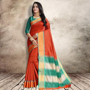 Lovely Orange Colored Festive Wear Cotton Silk Saree