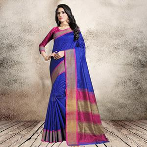 Charming Royal Blue Colored Festive Wear Cotton Silk Saree
