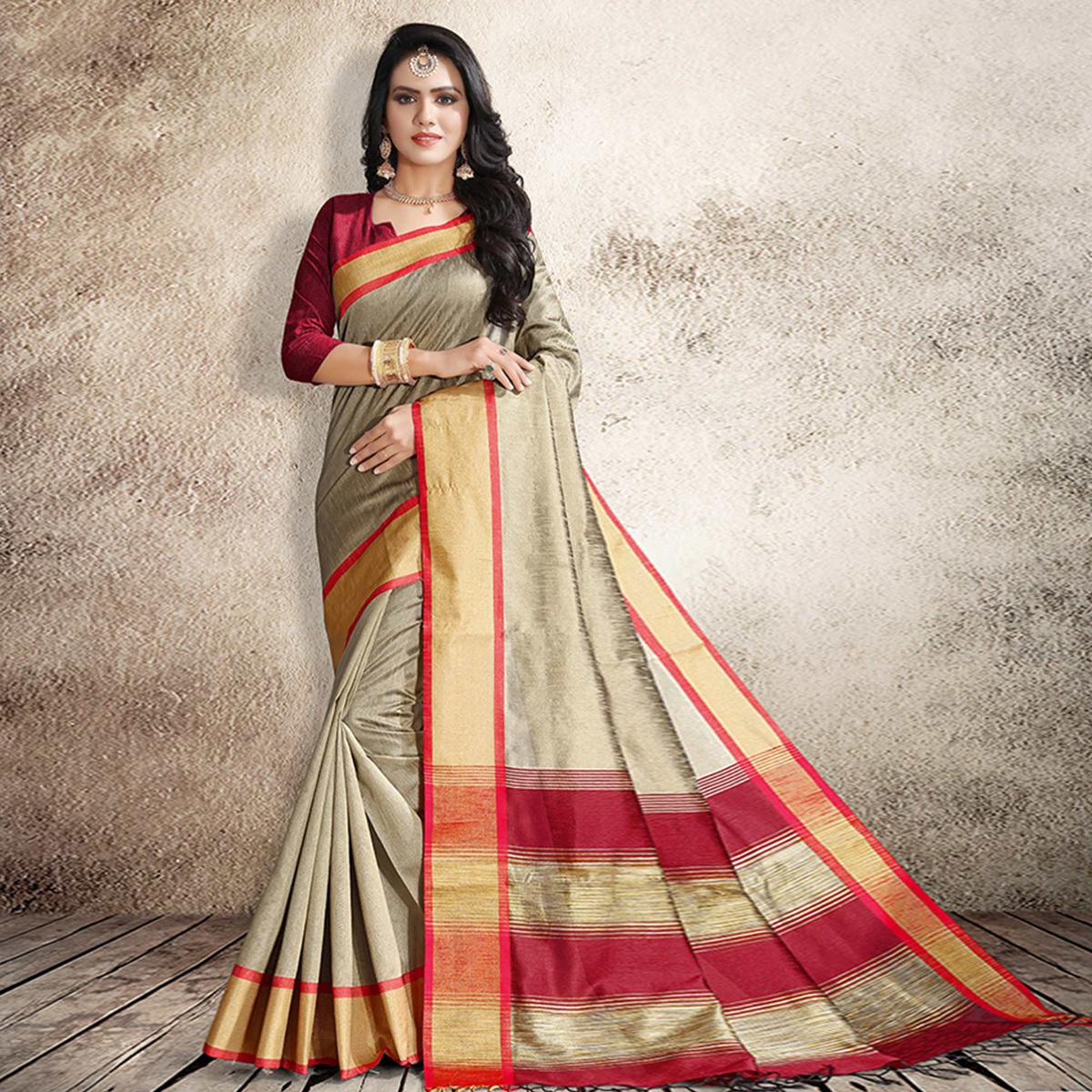 Ravishing Beige Colored Festive Wear Cotton Silk Saree