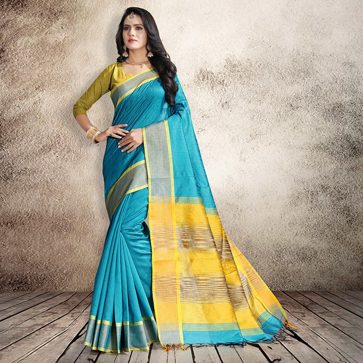 Delightful Sky Blue Colored Festive Wear Cotton Silk Saree