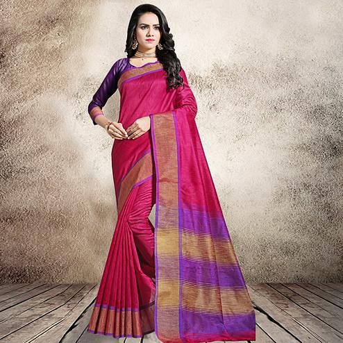 Stunning Pink Colored Festive Wear Cotton Silk Saree