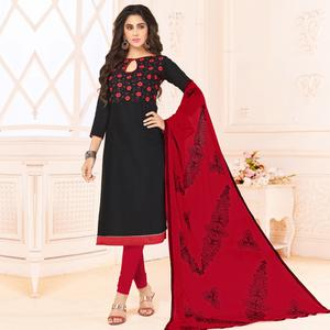 Eye-Catching Black Colored Embroidered Cotton Dress Material