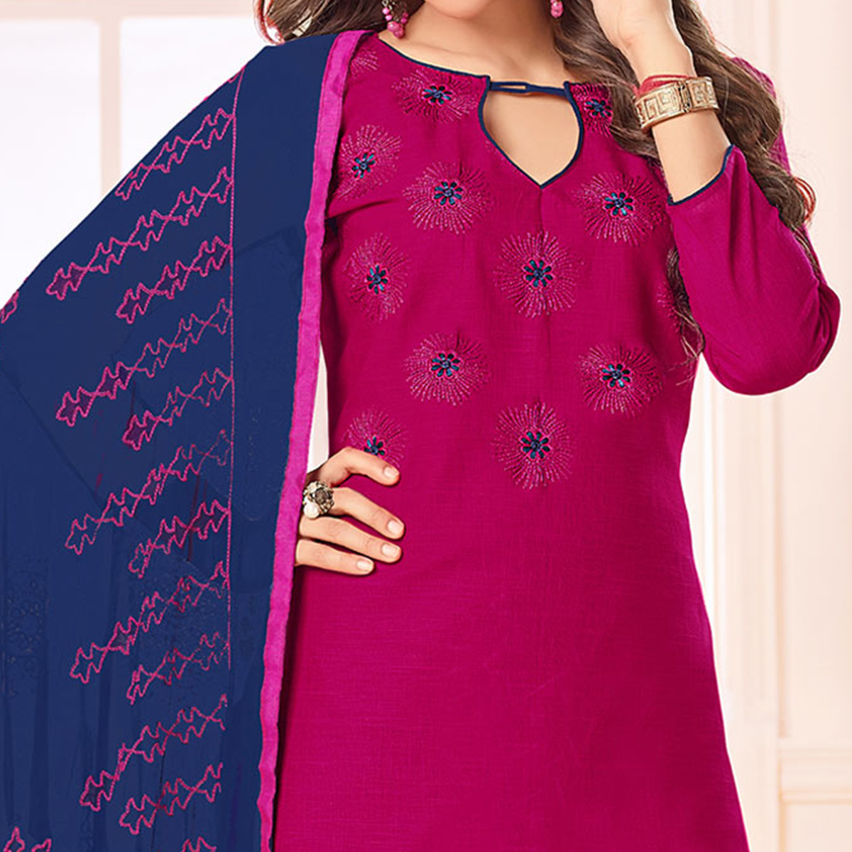 Charming Pink Color Embroidered Cotton Dress Material