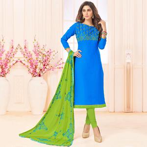 Blooming Sky Blue Colored Embroidered Cotton Dress Material
