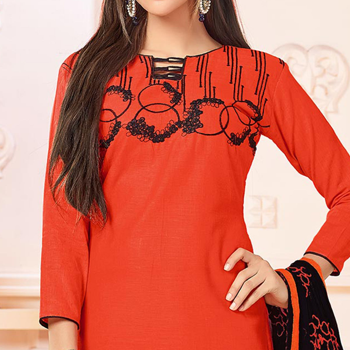 Trendy Orange Colored Embroidered Cotton Dress Material