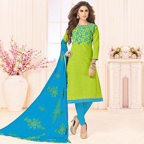 Refreshing Green Color Embroidered Cotton Dress Material