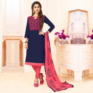 Groovy Navy Blue Colored Embroidered Cotton Dress Material