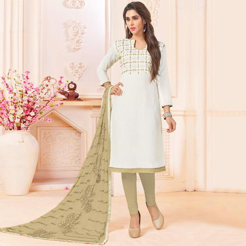 Desiring White Colored Embroidered Cotton Dress Material