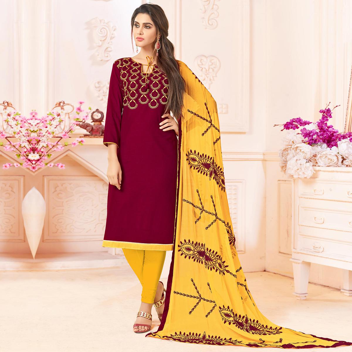 Gleaming Maroon Colored Embroidered Cotton Dress Material