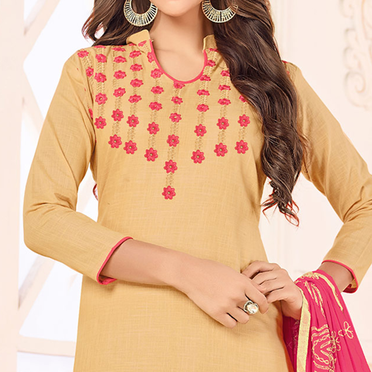 Unique Beige Colored Embroidered Cotton Dress Material