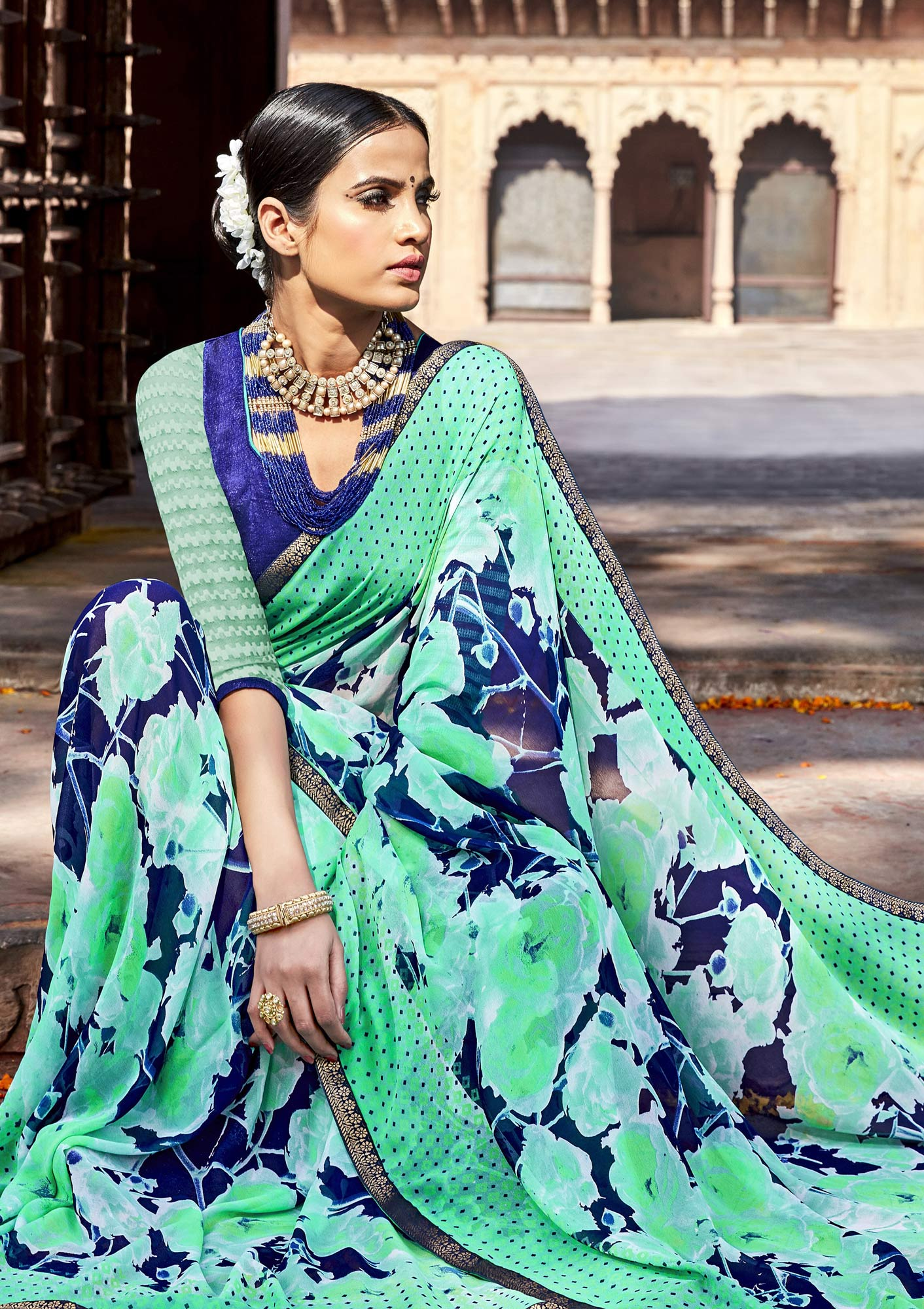 Green - Blue Casual Wear Saree