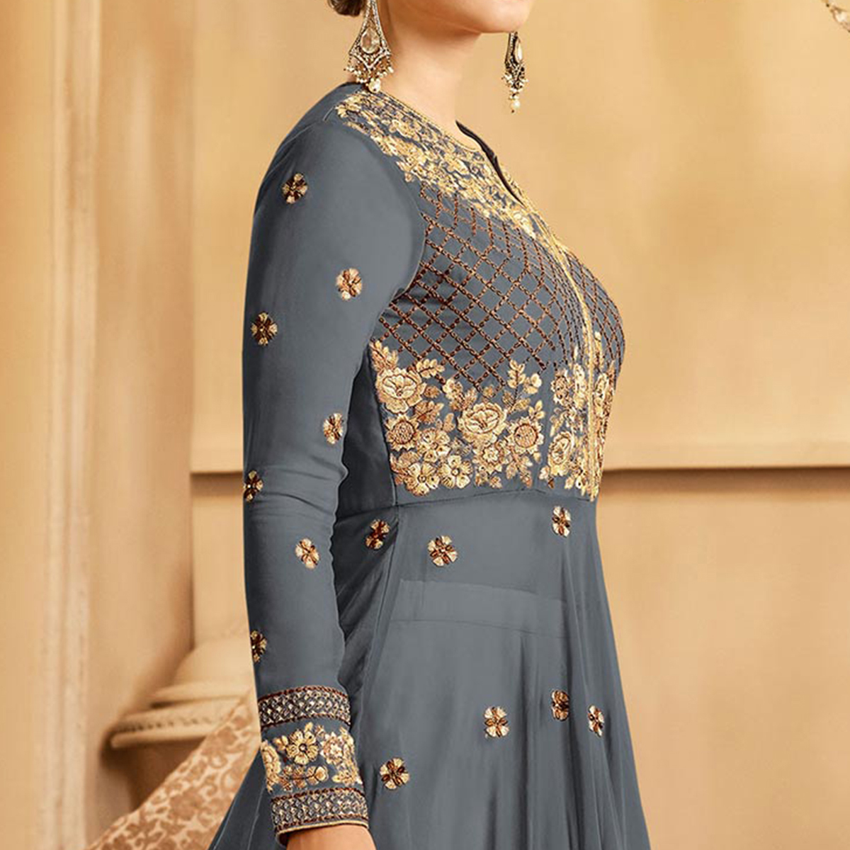 Impressive Gray Colored Partywear Embroidered Lehenga Kameez