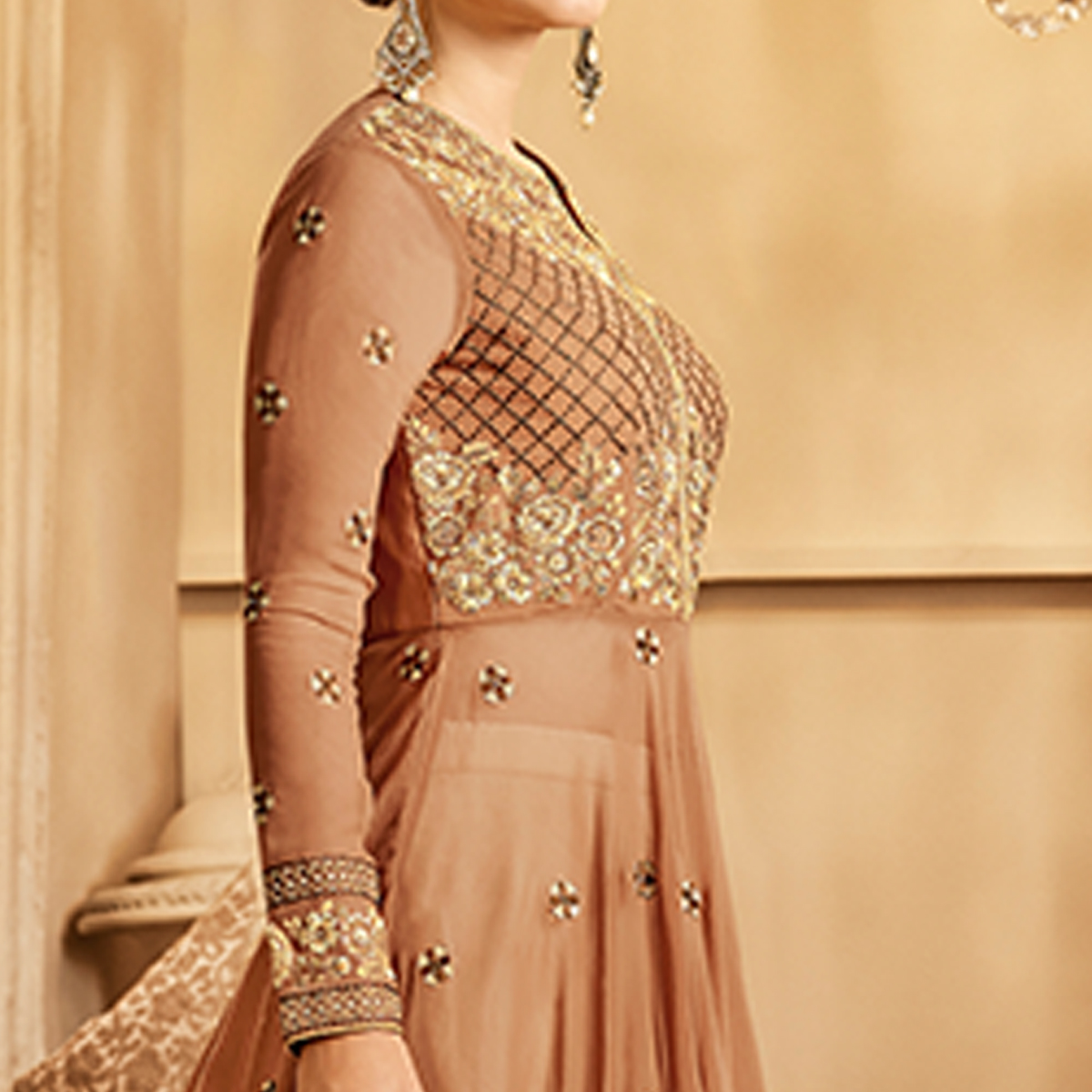 Skinny Brown Colored Partywear Embroidered Lehenga Kameez