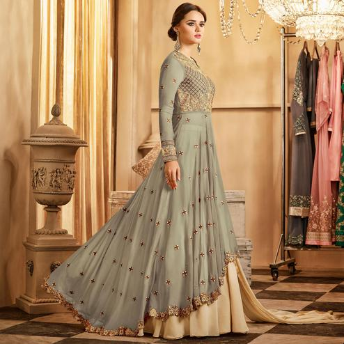 Demanding Light Gray Colored Partywear Embroidered Lehenga Kameez