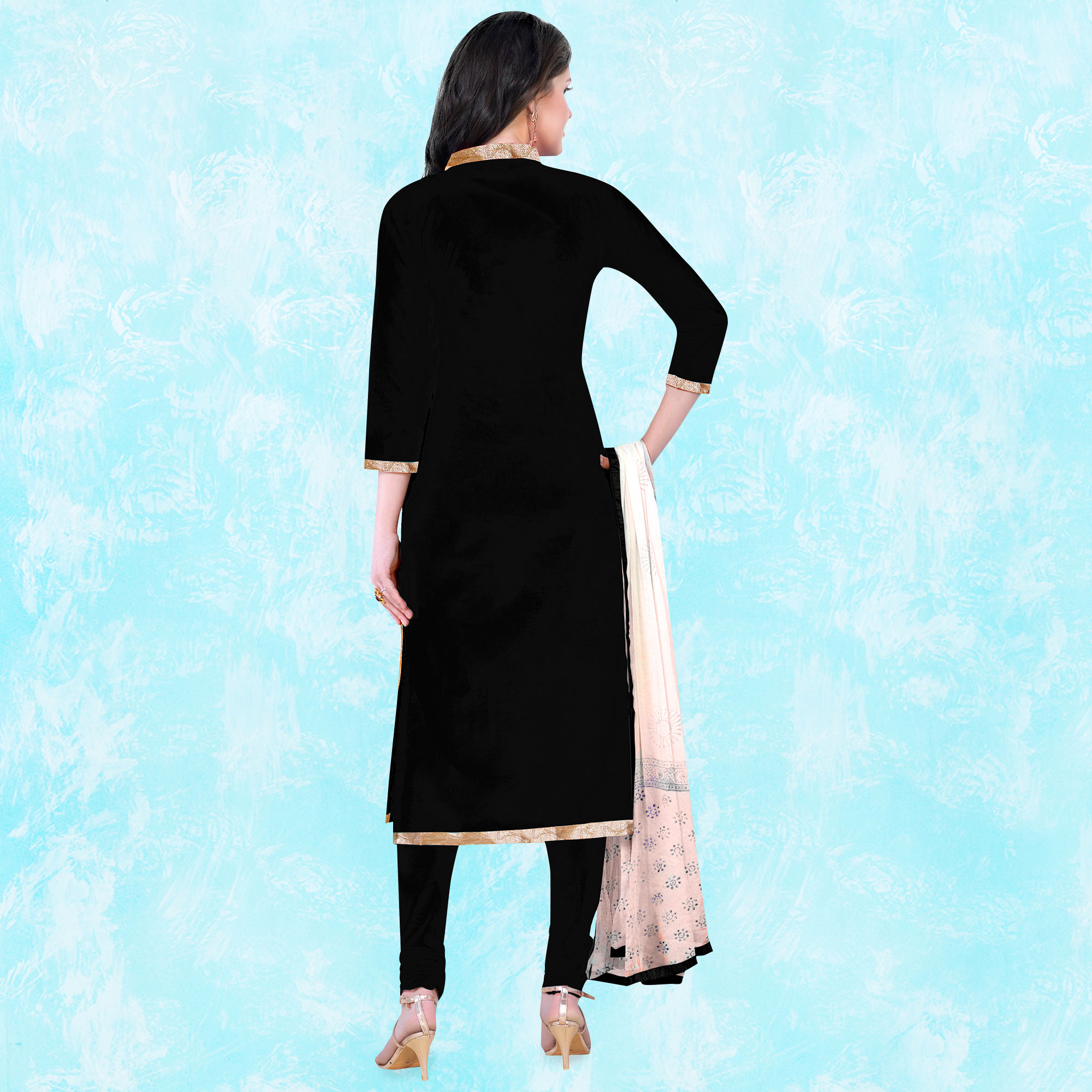 Intricate Black Colored Party Wear Embroidered Cotton Dress Material