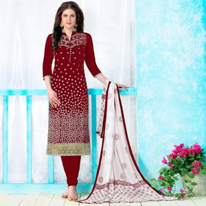 Jazzy Maroon Colored Party Wear Embroidered Cotton Dress Material