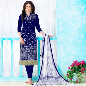 Appealing Navy Blue Colored Party Wear Embroidered Cotton Dress Material