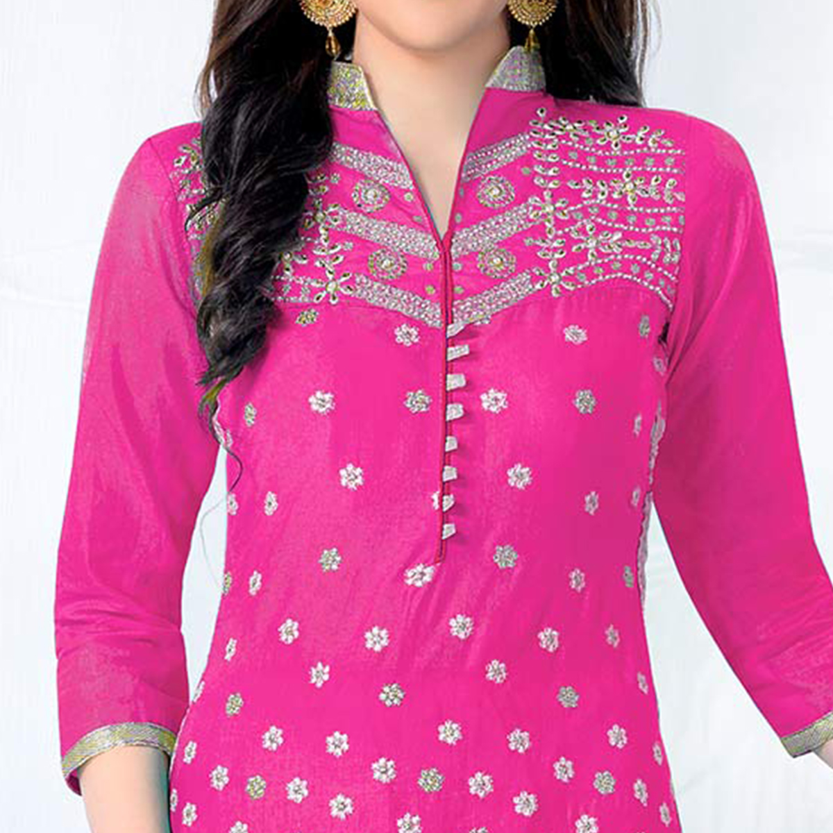Groovy Pink Colored Party Wear Embroidered Cotton Dress Material