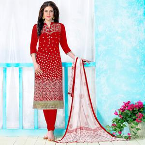 Prominent Red Colored Party Wear Embroidered Cotton Dress Material