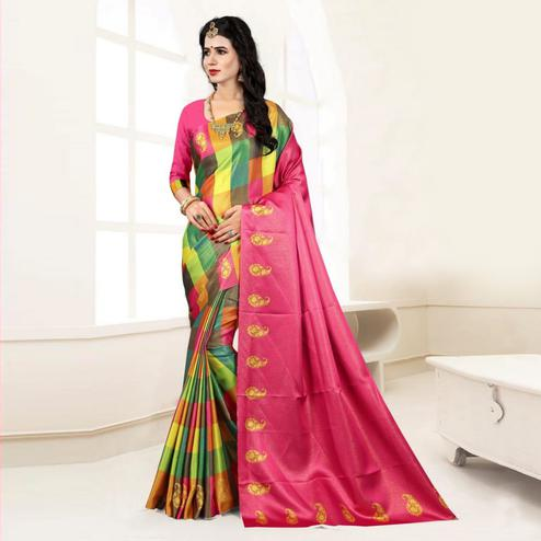 Gleaming Multi - Pink Colored Festive Wear Digital Printed Tussar Silk Saree