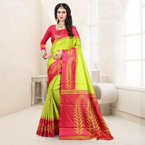 Arresting Green Colored Festive Wear Digital Printed Tussar Silk Saree
