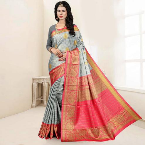Excellent Grey Colored Festive Wear Digital Printed Tussar Silk Saree