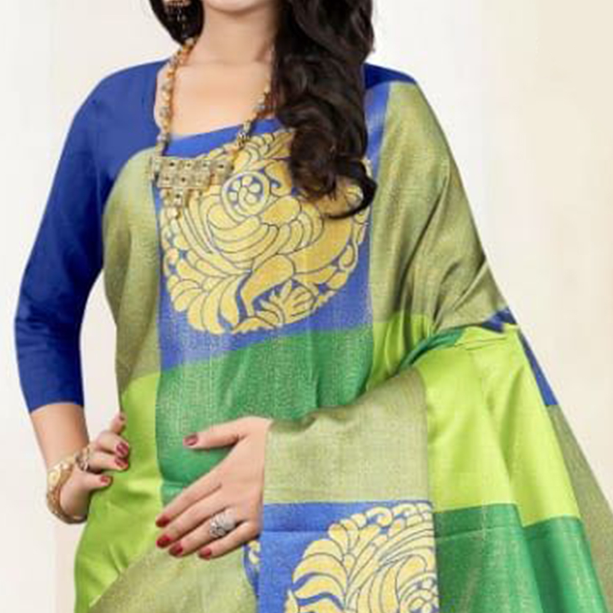 Ethnic Green Colored Festive Wear Digital Printed Tussar Silk Saree
