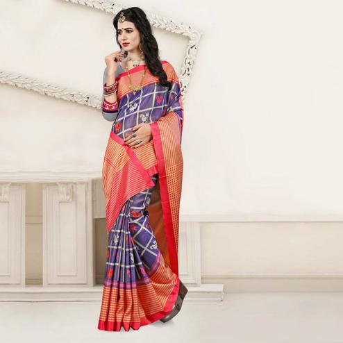 Starring Blue Colored Festive Wear Digital Printed Tussar Silk Saree