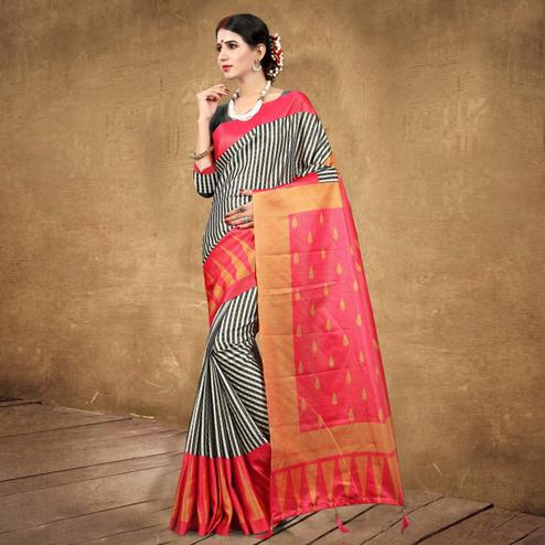 Surpassing Black - Pink Colored Festive Wear Digital Printed Tussar Silk Saree