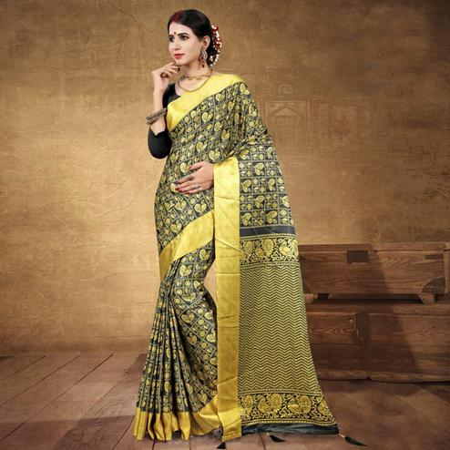 Entrancing Black - Yellow Colored Festive Wear Digital Printed Tussar Silk Saree
