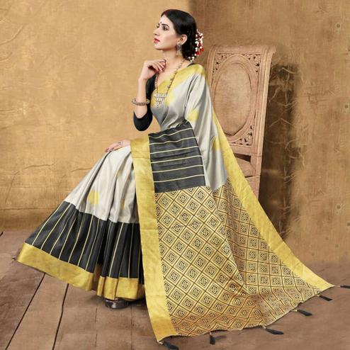 Imposing Grey Colored Festive Wear Digital Printed Tussar Silk Saree