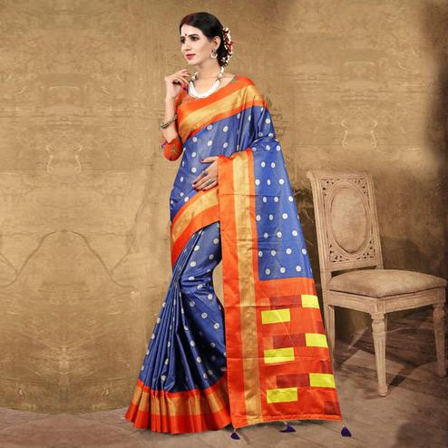 Blissful Blue Colored Festive Wear Digital Printed Tussar Silk Saree