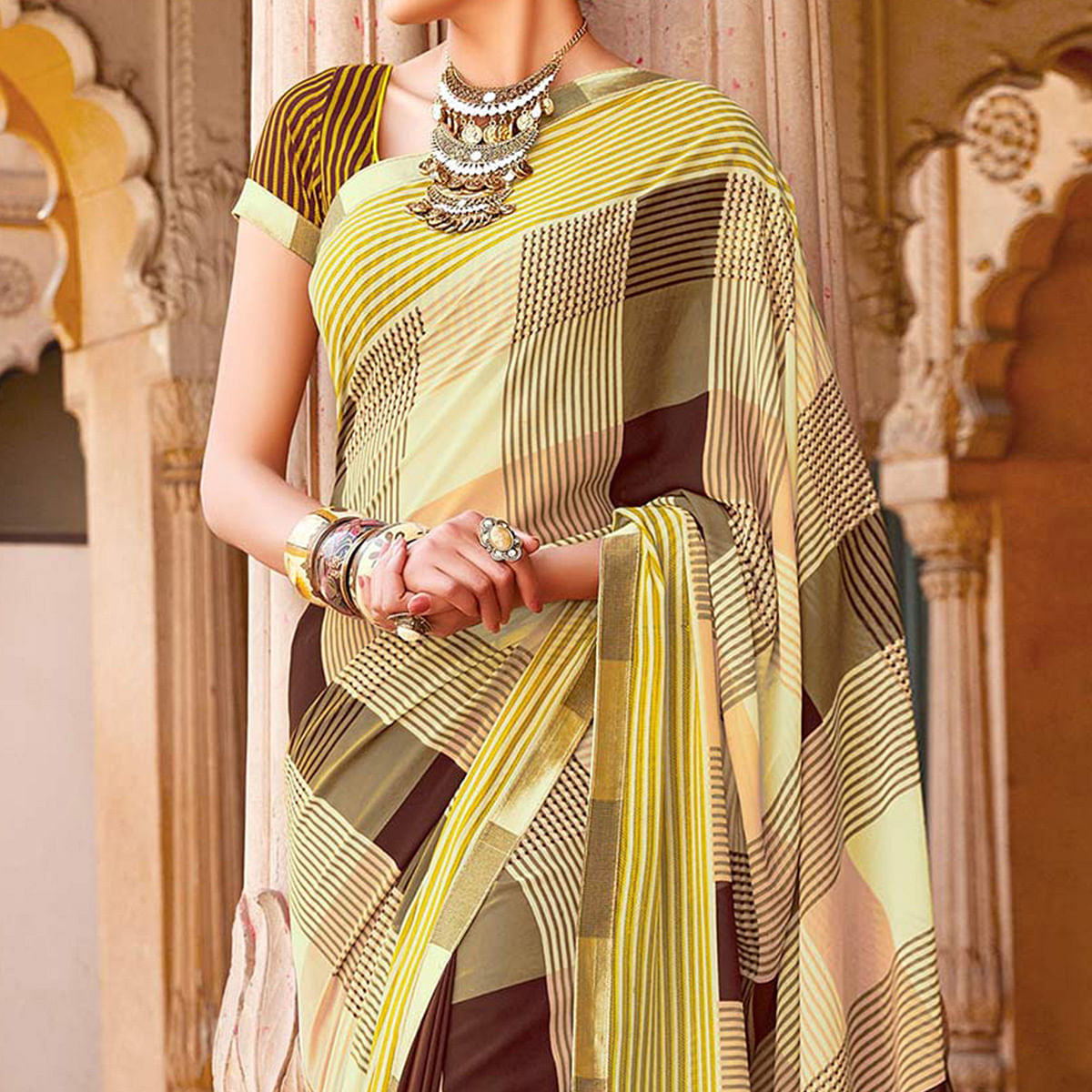 Multi Color Georgette Saree with Fancy Border