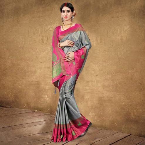Ideal Grey Colored Festive Wear Digital Printed Tussar Silk Saree