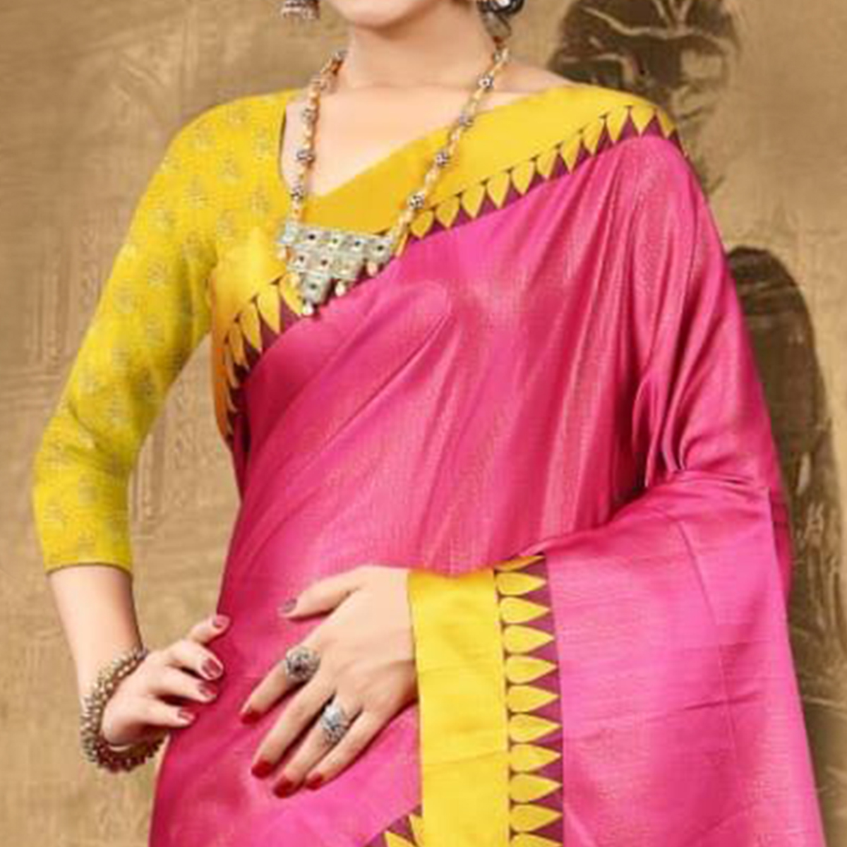 Exotic Pink Colored Festive Wear Digital Printed Tussar Silk Saree