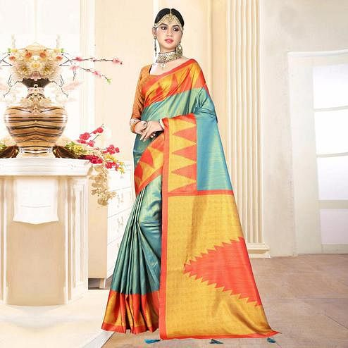 Preferable Teal Blue Colored Festive Wear Digital Printed Tussar Silk Saree