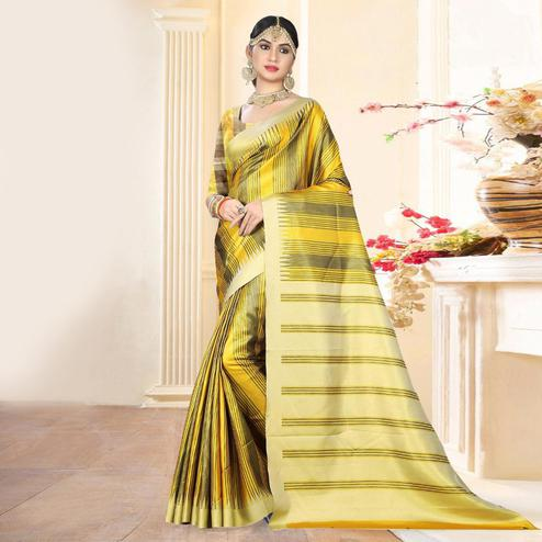 Attractive Yellow - Grey Colored Festive Wear Digital Printed Tussar Silk Saree