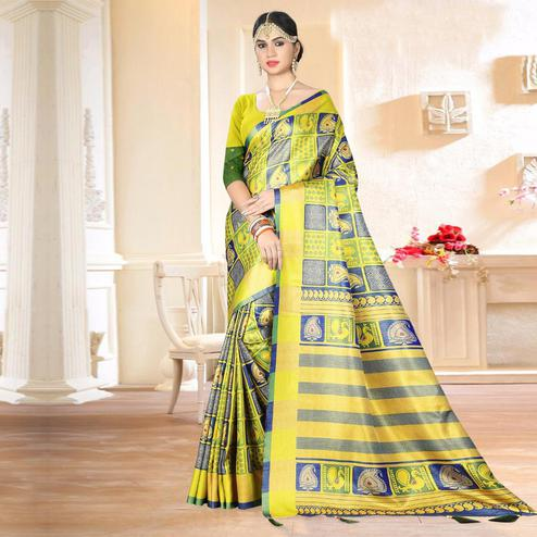 Gorgeous Yellow - Blue Colored Festive Wear Digital Printed Tussar Silk Saree