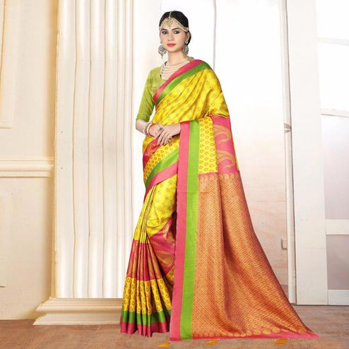 Glorious Yellow Colored Festive Wear Digital Printed Tussar Silk Saree