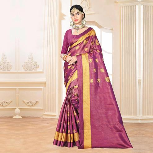 Graceful Purple Colored Festive Wear Digital Printed Tussar Silk Saree
