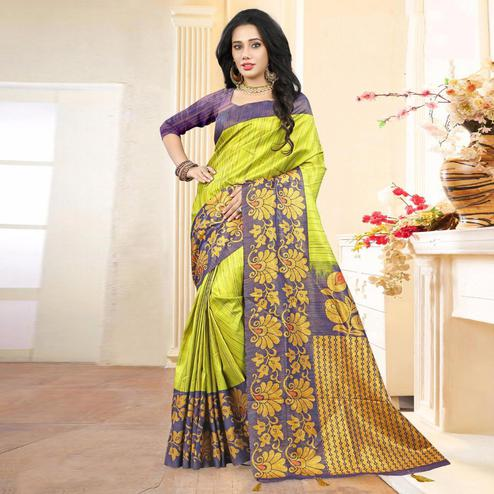Lovely Green Colored Festive Wear Digital Printed Tussar Silk Saree