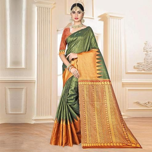 Pretty Olive Green Colored Festive Wear Digital Printed Tussar Silk Saree