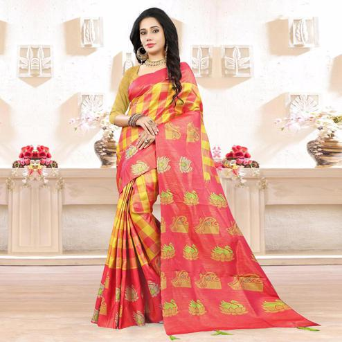 Charming Yellow - Pink Colored Festive Wear Digital Printed Tussar Silk Saree