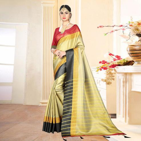Ravishing Beige Colored Festive Wear Digital Printed Tussar Silk Saree