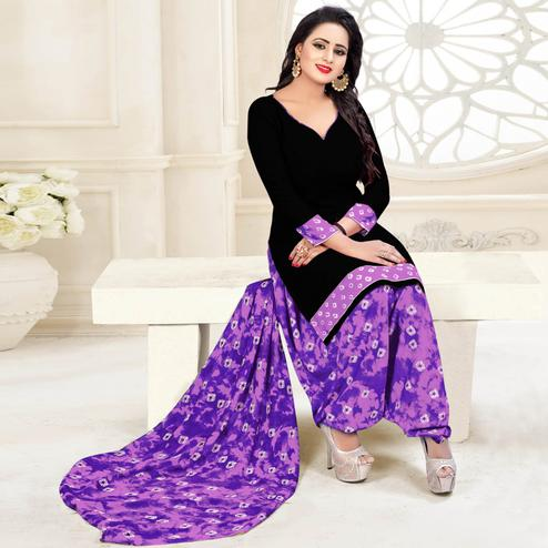 Adorable Black & Purple Colored Casual Wear Printed Crepe Salwar Suit