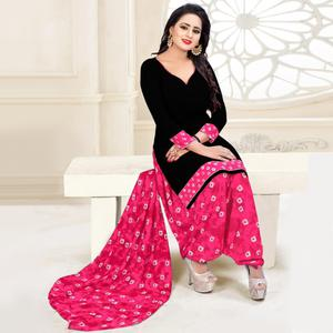 Attractive Black & Pink Colored Casual Wear Printed Crepe Salwar Suit